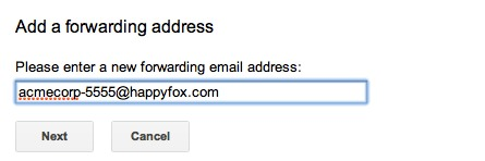 Setting a Mail Forwarding Rule from Gmail