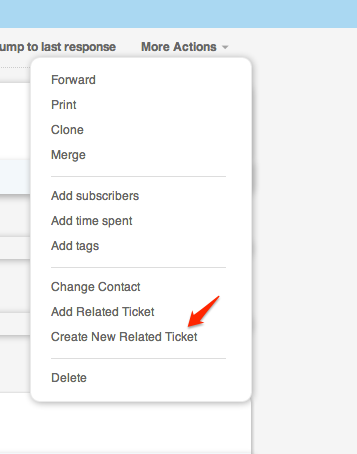 Creating a New Related Ticket
